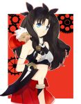 1girl =_= archer archer_(cosplay) black_hair blue_eyes brown_hair chibi cosplay fangs fate/stay_night fate/unlimited_codes fate_(series) hair_ribbon kanshou_&_bakuya kotono long_hair midriff ribbon solo sword tohsaka_rin toosaka_rin two_side_up weapon