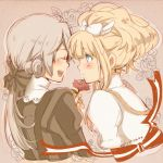 1girl bangs blonde_hair blue_eyes bow child closed_eyes dated dress elisabeth_von_wettin eyes_closed flower hair_bow ido_e_itaru_mori_e_itaru_ido long_hair marchen marz_von_ludowing open_mouth ponytail profile red_rose rose rouki_isago shirt short_ponytail silver_hair smile sound_horizon striped striped_shirt vertical_stripes white_dress young