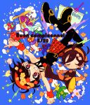 2boys aerosmith_(stand) airplane black_hair chibi dual_persona happy_birthday headband jojo_no_kimyou_na_bouken mirihiko multiple_boys narancia_ghirga stand_(jojo) violet_eyes