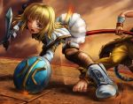 1girl barefoot blonde_hair blue_eyes cunt_punt fur_coat i-rabi ouch pole pyrrha_alexandra shield skirt soul_calibur soulcalibur soulcalibur_v sword violence weapon wink xiba