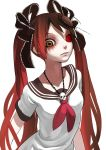 bad_id black_hair bow brown_eyes calne_ca crustacean fkey gradient_hair hair_bow hair_ribbon hatsune_miku heterochromia highres insect isopod jewelry lips long_hair looking_at_viewer multicolored_hair necklace red_eyes red_hair redhead ribbon saikin_osen_-_bacterial_contamination_-_(vocaloid) sailor_collar school_uniform serafuku skull solo twintails vocaloid white_background zengxianxin