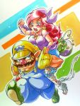 1girl anei bandage bandages bandana bandanna blush breasts captain_syrup cleavage coin earrings eyeliner facial_hair hat injury jewelry loot makeup marker_(medium) muscle mustache necklace nintendo nose overalls piggyback red_hair red_nose redhead tank_top torn_clothes torn_pants traditional_media tsundere wario wario_land