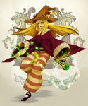 black_mage_(fft) blonde_hair final_fantasy final_fantasy_tactics hat kuwae long_hair robe staff striped striped_pants witch_hat yellow_eyes