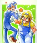 anei brothers brown_hair facial_hair fist_bump gloves hat long_nose marker_(medium) multiple_boys muscle mustache nintendo overalls red_nose siblings super_mario_bros. thumbs_up traditional_media waluigi wario white_gloves