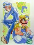 anei brothers brown_hair chin_rest facial_hair gloves hat leaning_on_person long_nose marker_(medium) multiple_boys muscle mustache nintendo overalls red_nose siblings sitting super_mario_bros. traditional_media waluigi wario white_gloves