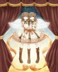 blue_eyes boots bow brown_hair conjoined curtains dress hair_bow highres kinuyo_(kinuxi) long_hair multiple_girls multiple_legs original siamese_twins siblings sisters three_legs twins winds wings