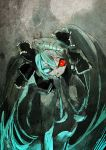 aqua_eyes aqua_hair bad_id bow breasts calne_ca creepy crustacean gidaraku hair_bow hair_ribbon heterochromia highres insect insect_girl isopod looking_at_viewer mandibles monster_girl nude red_eyes ribbon saikin_osen_-_bacterial_contamination_-_(vocaloid) twintails vocaloid