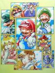 6+boys ^_^ anei bad_id blonde_hair bowser bowser_jr. brooch brown_hair character_request closed_eyes cloud crown dimentio facial_hair fangs flower gloves grin hand_on_own_chest happy hat jewelry laughing luigi mario marker_(medium) mask mr_l multiple_boys multiple_girls mustache nintendo open_mouth overalls paper_mario princess_daisy princess_peach smile super_mario_bros. traditional_media waluigi wario white_gloves