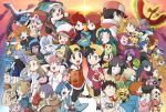 alternate_costume anzu_(pokemon) ariados baseball_cap bellossom black_hair blastoise blue_(pokemon) brown_hair celebi character_request charizard chikorita corsola crobat crystal_(pokemon) cyndaquil dual_persona elekid elite_four entei erika_(pokemon) espeon everyone gold_(pokemon) gold_(pokemon)_(classic) gold_(pokemon)_(remake) gym_leader hat hat_ribbon hayato_(pokemon) hibiki_(pokemon) hitmontop ho-oh holding holding_poke_ball ibuki_(pokemon) itsuki_(pokemon) japanese_clothes karin_(pokemon) kasumi_(pokemon) kasumi_(pokemon)_(hgss) katsura_(pokemon) kimono kingdra koma_yoichi kotone_(pokemon) kyou_(pokemon) leaf_(pokemon) lugia machisu_(pokemon) magby marina_(pokemon) matis_(pokemon) matsuba_(pokemon) mikan_(pokemon) miltank misdreavus multiple_boys multiple_girls natsume_(pokemon) natu nintendo noctowl ookido_green ookido_green_(classic) ookido_green_(frlg) pantyshot_(standing) pichu pikachu poke_ball pokedex pokemon pokemon_(anime) pokemon_(game) pokemon_champion pokemon_crystal pokemon_firered_and_leafgreen pokemon_frlg pokemon_gold_and_silver pokemon_gsc pokemon_heartgold_and_soulsilver pokemon_hgss pokemon_red_and_green pokemon_rgby raikou red_(pokemon) red_(pokemon)_(classic) red_(pokemon)_(remake) red_ribbon ribbon sakaki_(pokemon) scizor shijima_(pokemon) short_hair shuckle siba_(pokemon) silver_(pokemon) silver_(pokemon)_(classic) silver_(pokemon)_(remake) smile steelix suicune sunset swinub takeshi_(pokemon) totodile tsukushi_(pokemon) twintails tyrogue umbreon venusaur wataru_(pokemon) yanagi_(pokemon) yanagi_(pokemon)_(anime) yoi-chi