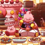 2boys alien bandai bandai-namco_entertainment bird_studio cake candy checkerboard_cookie chocolate closed_eyes color_connection cookie crossover cupcake doughnut dragon_ball dragon_ball_z dragonball_z eyes_closed food food_on_face glass hal_laboratory_inc. hoshi_no_kirby kirby kirby_(series) majin_buu male muffin namco nintendo no_humans pink_puff_ball pink_skin shounen_jump shueisha sitting smile straw strawberry_shortcake studio_connection talk toei_animation trait_connection warpstar_inc.