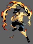 abs belt black_eyes black_hair boots cowboy_hat fire flame freckles hat highres jewelry knife male momo_moto muscle necklace one_piece portgas_d_ace sad_face shirtless shorts simple_background smile smiley_face solo tattoo topless weapon