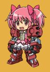 :d bow brown_background bubble_skirt chibi destiny30229 dress frills fusion gundam gundam_age gundam_age-1 gundam_age-1_titus hair_bow kaname_madoka looking_at_viewer magical_girl mahou_shoujo_madoka_magica mecha_musume mechanical_arms mechanical_legs open_mouth orange_background pink_eyes pink_hair short_twintails simple_background smile solo standing twintails