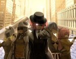akemi_homura animal_helmet black_bra blue_hair bow bra building buttons celty_sturluson celty_sturluson_(cosplay) city closed_eyes coat cosplay durarara!! expressionless eyes_closed formal fusion glowing glowing_eye glowing_eyes gun gundam gundam_age gundam_age-1 gundam_age-1_titus hair_bow hat helmet highres kaname_madoka katana kyubey lineup lingerie long_hair mahou_shoujo_madoka_magica mechanical_arm miki_sayaka multiple_girls necktie object_on_head open_clothes open_shirt outstretched_arm overcoat panties panties_on_head parody pistol pocky ponytail sakura_kyouko sakuraop sheath sheathed short_hair short_twintails suit sunglasses sword tomoe_mami twintails underwear weapon