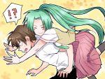 brown_hair green_hair higurashi_no_naku_koro_ni hug long_hair maebara_keiichi necktie ponytail school_uniform short_hair sonozaki_mion surprised yuumare