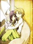 1girl bean_bag couple highres hug hug_from_behind ikezawa_hanako katawa_shoujo long_hair nakai_hisao ollycrescent reading scar