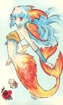 amaterasu artist_request bare_shoulders blue_hair chibi chibiterasu fish_tail fujitsubo-machine head_fins highres itou_noiji long_hair mermaid monster_girl nanami_(okami) nanami_(ookami) noizi_ito okami okamiden ookami_(game) ookamiden paper_texture red_eyes scan