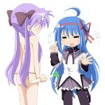 ahoge akemi_homura akemi_homura_(cosplay) anger_vein angry ass blue_hair blush bow cosplay g-string hair_bow hair_ribbon hiiragi_kagami izumi_konata katou_emiri kyubey kyubey_(cosplay) leek long_hair lucky_star mahou_shoujo_madoka_magica mizushima_(p201112) mole multiple_girls pantyhose purple_hair ribbon seiyuu_connection spring_onion topless twintails underwear underwear_only