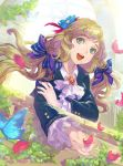 aqua_eyes arch badge blonde_hair buttons cravat dutch_angle flower frilled_sleeves hair_flower hair_ornament hair_ribbon holding_arm long_hair low-tied_long_hair motion_blur open_hand open_mouth original petals ribbon smile solo tob veranda watermark web_address