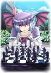 ascot bangs bat_wings board_game bow brick_wall bush chess chess_piece chessboard chin_rest cloud flandre_scarlet flower garden glowing glowing_eyes hat hat_bow head_rest head_tilt head_wings hong_meiling izayoi_sakuya koakuma long_hair looking_at_viewer outdoors patchouli_knowledge playing_games pov pov_across_table pov_eye_contact raybar red_eyes remilia_scarlet ribbon scarlet_devil_mansion short_hair sky solo straight_hair the_embodiment_of_scarlet_devil touhou very_long_hair wings wrist_cuffs