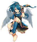 barefoot blue_hair cosplay feet inazuma_eleven inazuma_eleven_(series) kazemaru_ichirouta kid_icarus long_hair male pit pit_(cosplay) pit_(kid_icarus) ponytail red_eyes smile solo trap wings