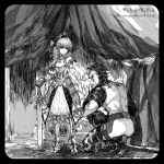 1girl adapted_costume armor armored_dress bow bowing couple dress fate/unlimited_codes fate/zero fate_(series) faulds faux_traditional_media greaves hair_bow hair_ribbon hand_kiss hand_on_hilt height_difference kiss kneeling lancer_(fate/zero) planted_sword planted_weapon ribbon saber saber_lily ss_kankon sword weapon