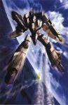 battle cloud flying gunpod highres macross macross_zero mecha motion_blur ocean official_art realistic scan science_fiction tenjin_hidetaka u.n._spacy vf-0 vf-0a wings