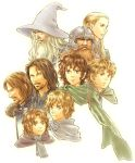 aragorn artist_request beard blonde_hair blue_eyes boromir brooch bust cape facial_hair frodo_baggins gandalf gimli hat helmet jewelry legolas long_hair lord_of_the_rings meriadoc_brandybuck multiple_boys peregrin_took samwise_gamgee short_hair white_hair wizard wizard_hat