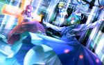 animal_ears blonde_hair blue_dress bow breasts cape capelet cat_ears cross crossed_arms dress ghost_tail green_eyes green_hair hat kitashirakawa_chiyuri long_hair mima multiple_girls okazaki_yumemi open_mouth outstretched_arms phantasmagoria_of_dim.dream purple_dress purple_eyes purple_hair red_eyes red_hair ryosios sailor sailor_dress sailor_hat screen shirt short_hair shorts smile touhou touhou_(pc-98) tube twintails violet_eyes wink wizard_hat yellow_eyes
