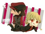 2boys blonde_hair blush brown_hair butterfly cabbie_hat chibi dark_persona ebitetsu formal hat ken_a_jian male multiple_boys nail_polish ourobunny red_eyes suit tiger_&_bunny vest waistcoat