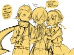 aegis aiwatan android arisato_minato digital_media_player english headphones mochizuki_ryouji monochrome persona persona_3 pout ribbon scarf school_uniform short_hair suspenders