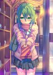 ahoge alternate_costume bag blush box building cardigan daito door fence floor frog_hair_ornament gift gift_box giving green_eyes green_hair hair_ornament hair_tubes holding kochiya_sanae long_hair looking_at_viewer outstretched_arm scarf scarf_over_mouth school_bag school_uniform shelf shirt shoulder_bag shy signpost skirt snake solo standing sunset touhou tree twilight valentine