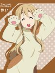 animal_costume blonde_hair caramelldansen character_name closed_eyes dog_costume eyes_closed ikari_manatsu k-on! kotobuki_tsumugi long_hair paws solo