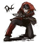 1boy black_hair cigarette dante devil_may_cry dmc:_devil_may_cry dual_wielding eroquis fingerless_gloves gloves gun jacket one_knee pistol rough short_hair smoking solo trigger_discipline weapon