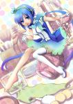aoki_lapis barefoot blue_eyes blue_hair cosmetics diamond gloves hair_ornament headset highres kunn legs long_hair looking_at_viewer minigirl nail_polish_bottle perfume_(cosmetics) scarf single_shoe single_thighhigh sitting skirt solo thigh-highs thighhighs tourmaline twintails very_long_hair vocaloid