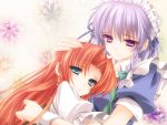 bow braid earring earrings green_eyes hair_bow highres hong_meiling hug izayoi_sakuya jewelry long_hair maid maid_headdress moneti_(daifuku) multiple_girls no_hat no_headwear open_mouth orange_hair purple_eyes red_hair short_hair silver_hair smile star tears the_embodiment_of_scarlet_devil touhou twin_braids wrist_cuffs