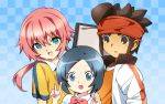 1girl 2boys blue_eyes blue_hair brown_eyes brown_hair endou_mamoru green_eyes highres inazuma_eleven_go kirino_ranmaru maetaku multiple_boys open_mouth pink_hair short_hair sorano_aoi trap