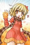 1girl aki_shizuha akou_roushi alternate_costume arm_up arm_warmers blonde_hair blush detached_sleeves emphasis_lines g_gundam gundam hair_ornament leaf leaf_on_head open_mouth parody plaid plaid_scarf ribbed_sweater scarf shining_finger short_hair solo sweater sweater_dress touhou translated translation_request yellow_eyes