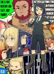 airplane bag beard berserker_(fate/zero) black_eyes black_hair blonde_hair caster_(fate/zero) chibi facial_hair fate/zero fate_(series) food french_fries gilgamesh green_eyes green_hair hat ice_cream irisviel_von_einzbern laphy matou_kariya rider_(fate/zero) saber shorts sparkle toy uryuu_ryuunosuke waver_velvet