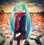 1girl aqua_hair closed_eyes clouds hakui hatsune_miku long_hair open_mouth reflection scarf skirt sky solo twintails very_long_hair vocaloid water