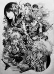 absurdres flower fujiwara_no_mokou full_moon graphite_(medium) hair_flower hair_ornament highres houraisan_kaguya imperishable_night inaba_tewi kamishirasawa_keine monochrome moon mouth_hold neko_(yanshoujie) ofuda paper popped_collar reisen_udongein_inaba scan scroll touhou traditional_media weapon yagokoro_eirin