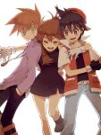 2boys backwards_hat belt black_hair blue_(pokemon) blush boots brown_hair closed_eyes colored_eyelashes denim dress eyes_closed fingerless_gloves glomp gloves green_eyes hand_in_pocket hat hug jacket jewelry long_hair multiple_boys necklace ookido_green open_mouth poke_ball pokemon pokemon_special red_(pokemon) red_eyes simple_background smile strawberrybit waist_poke_ball white_background white_belt