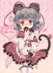 alternate_costume animal_ears apron arms_up blush bracelet covering covering_face covering_mouth dress garter_straps grey_hair hair_ribbon heart iris_anemone jewelry mouse_ears mouse_tail nazrin red_dress red_eyes ribbon short_hair solo tail tail_ribbon thigh-highs thighhighs touhou valentine white_legwear wrist_ribbon zettai_ryouiki