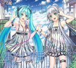 2girls ahoge aqua_eyes aqua_hair armlet bracelet breasts cleavage clouds green_eyes hatsune_miku holding_hands jewelry jjwww_love long_hair microphone microphone_stand multiple_girls open_mouth silver_hair sky thigh-highs twintails very_long_hair vocaloid