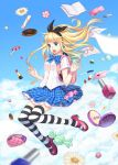 alice_(wonderland) alice_in_wonderland backpack bag blonde_hair blue_eyes bow briska candy cloud cosmetics doughnut drugs earrings eraser falling flower hair_bow jewelry lipstick_tube lollipop long_hair open_mouth paper pen pencil_case pill plaid plaid_skirt purse randoseru skirt sky solo striped striped_legwear thighhighs