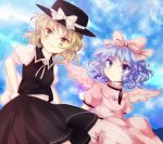 :o blonde_hair blue_eyes bow buttons cloud dress hand_on_hip hat hat_bow highres hips lavender_hair looking_away mai_(touhou) minagi_(miraura) multiple_girls mystic_square pink_dress ribbon shirt short_hair short_sleeves sitting skirt sky smile star_(sky) starry_sky touhou vest wings witch yellow_eyes yuki_(touhou)