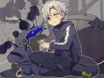 animalization berserker_(fate/zero) blue_eyes chibi dog fate/zero fate_(series) garbage helmet heterochromia hoodie laphy male matou_kariya red_string sitting string trash trash_can trashcan white_eyes white_hair