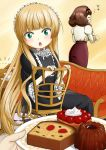 2girls :o blonde_hair blush bread brown_hair cake cecile_lafitte chair closed_eyes cup dessert dress eyes_closed food frills glasses gosick gothic_lolita green_eyes hairband lolita_fashion long_hair minagi_(gogogo) multiple_girls musical_note plate pov saucer sitting table teacher theft tsurime very_long_hair victorica_de_blois