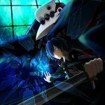 arisato_minato blue_eyes blue_hair bow digital_media_player hair_over_one_eye headphones male persona persona_3 ribbon school_uniform solo sword thanatos weapon