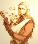 2boys andy_bogard baby fatal_fury father_and_son geese_howard gloves itkz_(pixiv) king_of_fighters long_hair low-tied_long_hair mark_of_the_wolves multiple_boys necktie necktie_pull rattle_drum rock_howard ryuuko_no_ken sepia sling snk vest
