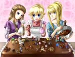 blonde_hair blue_eyes bowser brown_hair cake captain_falcon casual charizard child chocolate diddy_kong donkey_kong donkey_kong_(series) epic f-zero fire_emblem food fox_mccloud ganondorf highres ice_climber ice_climbers icing ike in_food ivysaur jigglypuff kid_icarus king_dedede kirby kirby_(series) link long_hair lucario lucas luigi mario marth meta_knight metal_gear metal_gear_solid metroid miniboy minigirl mother_(game) mother_2 mother_3 mr._game_&_watch ness nintendo olimar pikachu pikmin pikmin_(creature) pink_background pit pit_(kid_icarus) pokemon pokemon_(game) pokemon_frlg pokemon_rgby princess_peach princess_zelda r.o.b red_(pokemon) red_(pokemon)_(remake) samus_aran sleeves_pushed_up sleeves_rolled_up solid_snake sonic sonic_the_hedgehog spoon squirtle star_fox super_mario_bros. super_smash_bros. the_legend_of_zelda toon_link twilight_princess valentine wario wolf_o'donnell wolf_o'donnell yoshi yuino_(fancy_party)